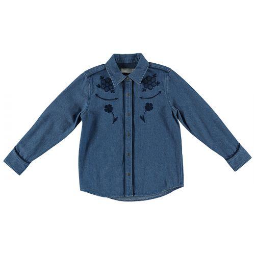 Girls Blue Floral Embroidered Denim Shirt