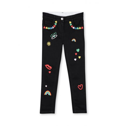Black Embroidery Denim Pants