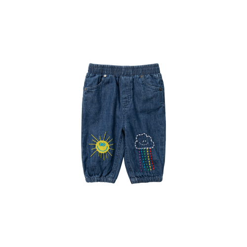 Weather Embroidery Denim Pants