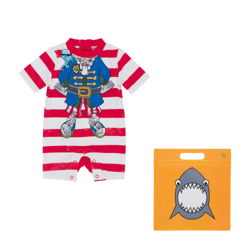 Red & White Pirate Stripes Baby Swimsuit