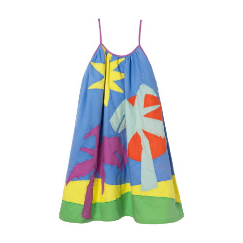 Multi-Color Palm Tree Dress