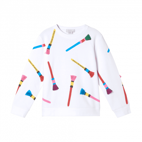 White Pencil Brushes Sweater
