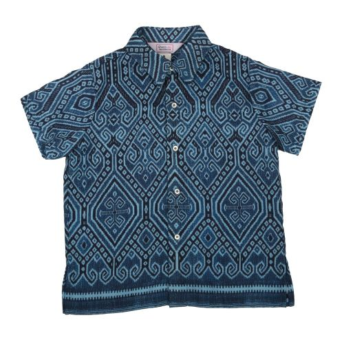 Blue Ikat Borneo Print Shirt