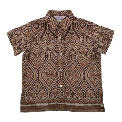 Brown Ikat Borneo Print Shirt