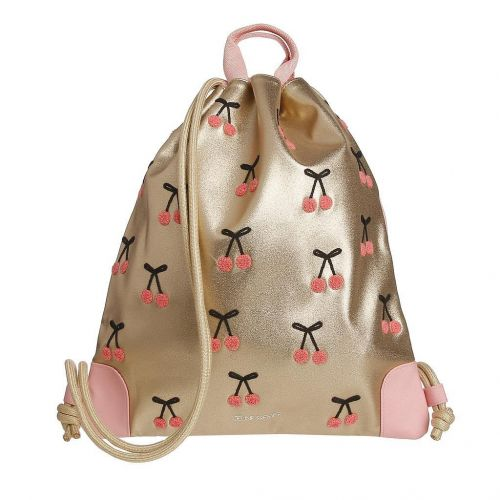 Gold Cherry Pompon Bag