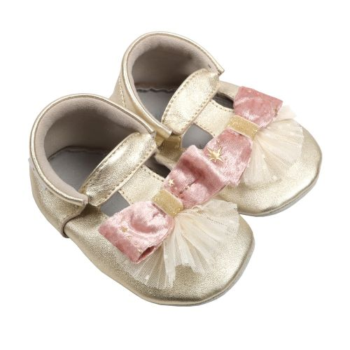 Gold Bow Pleats Baby Shoes