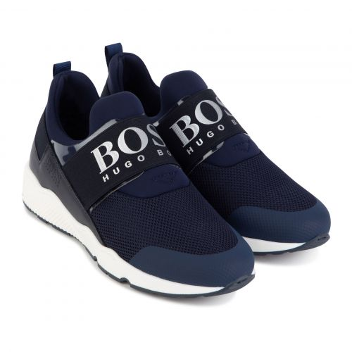 Navy Logo Trainers