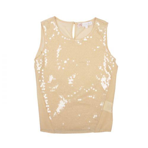 Beige Sequins Silk Blouse