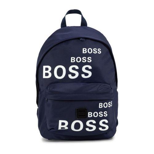 Navy All-Over Logo Backpack