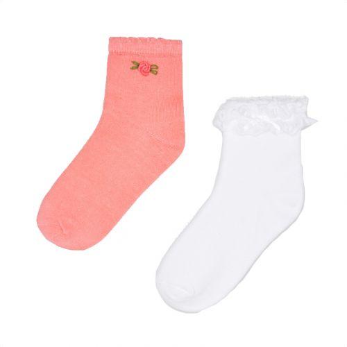 Pink & White Floral Socks Set