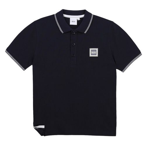 Square Logo Navy Polo Shirt