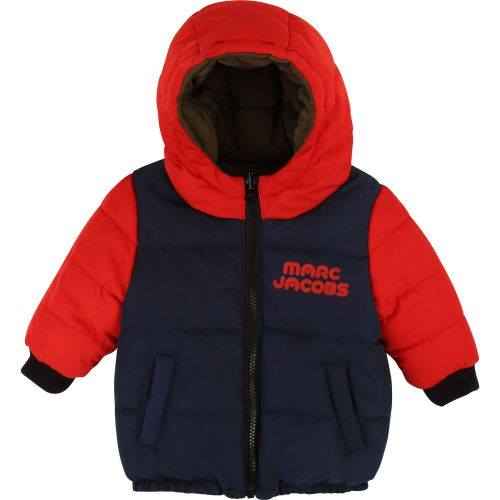 Red And Navy Blue Hooded Puff Coat
