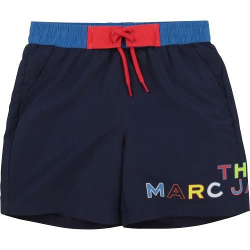 Navy Logo Print Swimming Shorts