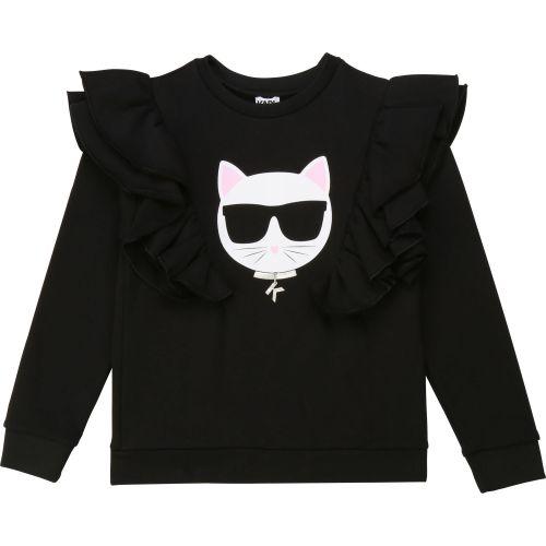 Black Ruffled Choupette Sweater